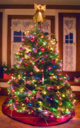 decoration: A softly glowing Christmas tree in a north American home.
