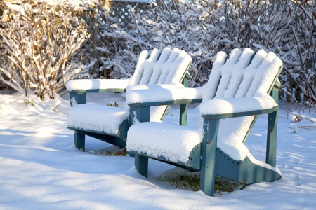 Wooden Adirondack chairs covered in snow in a backyard garden.