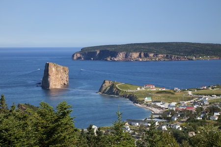 View of the Gulf of St. Lawrence, Perce Village and Rock located in Gaspesie, Quebec, Canada. Stock Photo
