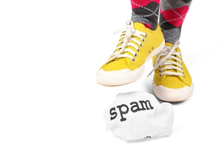 personally: Stamp out spam.  A metaphor for the distaste and elimination of spam be it by spyware or personally.