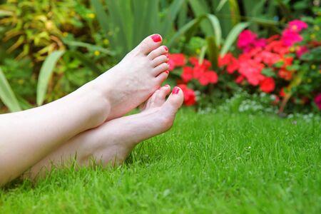 uñas pintadas: Pintado dedos partido flores en el jardín.  En este caso anual flores impatiens.