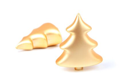 matted: Christmas decorations in the shape of trees with a soft matted gold finish.