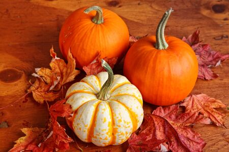 Fall pumpkin and decorative squash with autumn leaves on a wooden table.