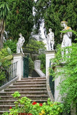 Classical inspired statues on the grounds of the Achillion Palace on the island of Corfu.  photo