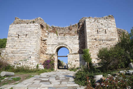 persecution: Ruins of the arch of the Gate of Persecution of the St. Johns Basilica  on Ayasuluk Hill, Selcuk, Ephesus, Turkey.  Stock Photo