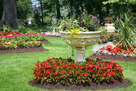 Cement pedestal planter in the Halifax Public Gardens, Halifax, Nova Scotia, Canada Stock Photo