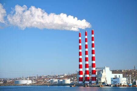 coal fired: Coal fired power plant along the harbor in Halifax, Nova Scotia, Canada.