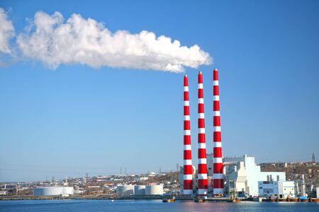 coal fired: Coal fired power plant along the harbor in Halifax, Nova Scotia, Canada.