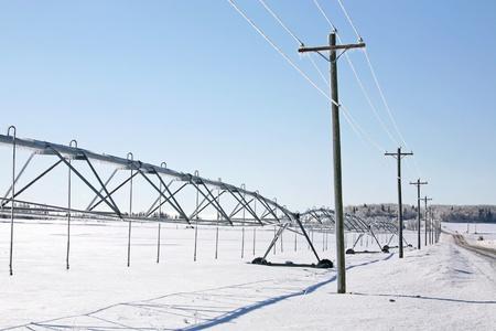 Modern irrigation system in the rural landscape.
