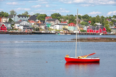 View of the harbour and waterfront of Lunenburg, Nova Scotia, Canada. Lunenburg is a historic port town in Nova Scotia