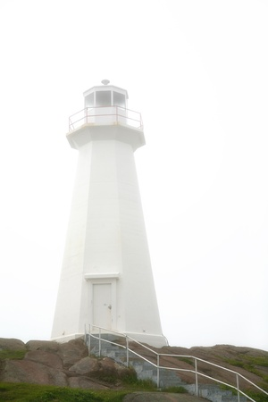 Canadas most easterly point in Newfoundland is at Cape Spear Lighthouse. This is not the oldest lighthouse in Newfoundland but was built in 1955 of concrete replacing the original structure built in 1835.  Stock Photo