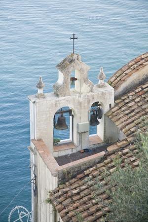 oudoors: Church with bells along Italys Almalfi Coast.