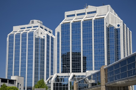 Office buildings and pedway in downtown in the city of Halifax, Nova Scotia, Canada.