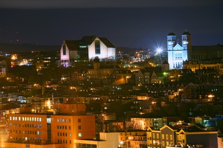 nfld: A night view of downtown St. Johns, Newfoundland, Canada.  The museum and art gallery The Rooms is the large building on the upper right.