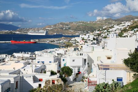 Overlooking Mykonos Town (Hora) on the island of Mykonos towards the wharfs of the docking area and passenger terminal.