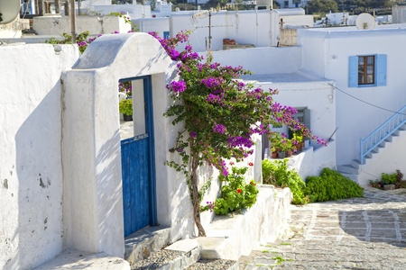 mykonos: A winding road through a small town on the island of Mykonos, Greece.