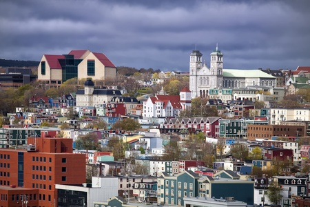 nfld: The colorful old city of St. Johns, Newfoundland with its unique architecture.  The large building on the top left is the new art gallery and museum called The Rooms.