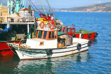 fisher animal: Turkish fishing boats tied up in Kusadasi, Turkey. Editorial