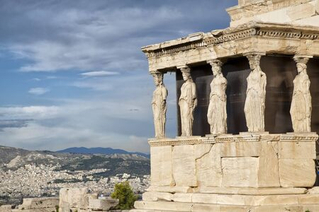caryatids: Caryatids at Erechtheum of Parthenon in Athens Greece Erechtheion