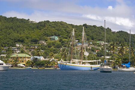 grenadines: Boats moored in Admiralty Bay on the island of Bequia, St. Vincent and the Grenadines.