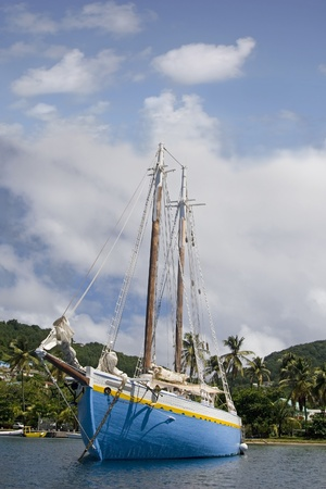 grenadines: Sailing ship mored in Admiralty Bay on the island of Bequia, St. Vincent and the Grenadines. Editorial
