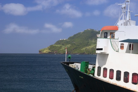 grenadines: A ferry in Admiralty Bay on the island of Bequia in the Caribbean.
