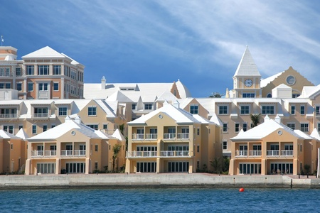 Bermudian style architecture in condominiums along the waterfront in Hamilton. Bermuda. Stock Photo - 11654396