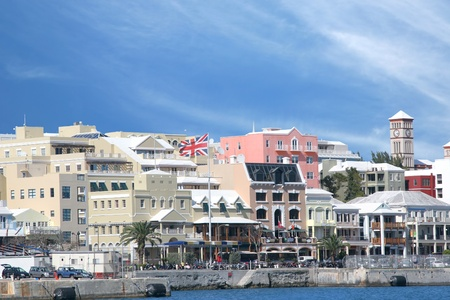 A view of the busy waterfront of downtown Hamilton, Bermuda.