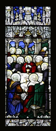 holy thursday: The Last Supper in stained glass Editorial