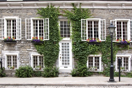 montreal: A traditional home with unique Quebec architecture in Old Montreal, Quebec, Canada. Editorial