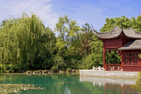 An oriental themed garden with lily pond.