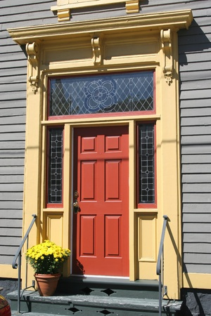 A door on an old Victorian building.