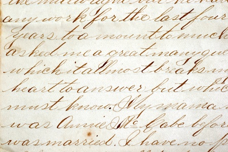 grunge backgrounds: Calligraphy type handwriting from the late 1800 Editorial