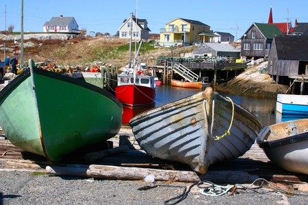 Old boats in a Nova Scotia fishing village.