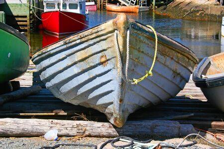 scotia: Old boats in a Nova Scotia fishing village.