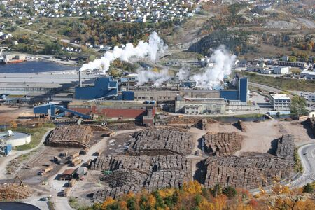 Aerial view of an operational pulp and paper mill in Corner Brook, Newfoundland,Canada.  Editorial