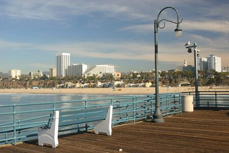 View of Santa Monica Beach, California from the Santa Monica Pier.