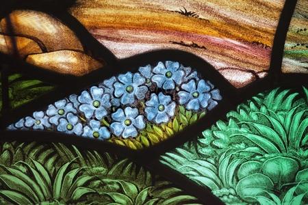 glasscheibe: Blumen-Garten in einem Glasfenster. Von der Paulskirche (1749), Halifax, Nova Scotia.