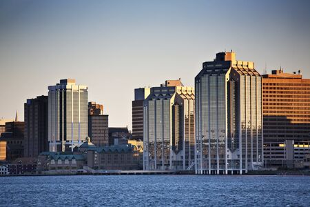 Waterfront of Halifax, Nova Scotia, Canada showing the downtown office buildings.
