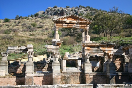 Ruins of Traian Fountain in Ephesus, Turkey.