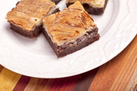 Cheesecake brownies with cream cheese icing.