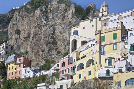 Buildings clinging to the cliffs along the Amalfi coast.