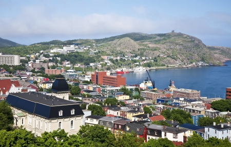 nfld: View of St. Johns, Newfoundland, the harbor and Signal Hill. Stock Photo