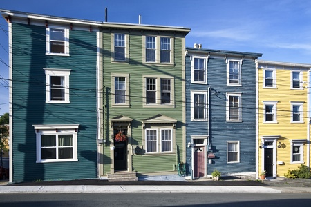nfld: Unique architecture in the colorful houses on the steep streets of St. Johns, Newfoundland.