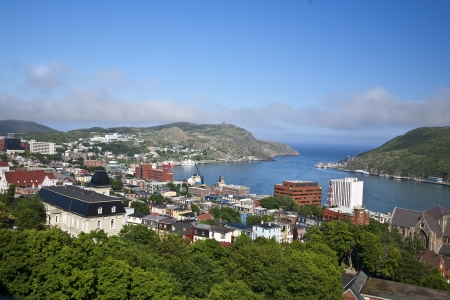 View of St. Johns, Newfoundland, the harbor and Signal Hill. Stock Photo
