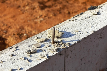 Rebar used in reinforcing a concrete foundation. Stock Photo