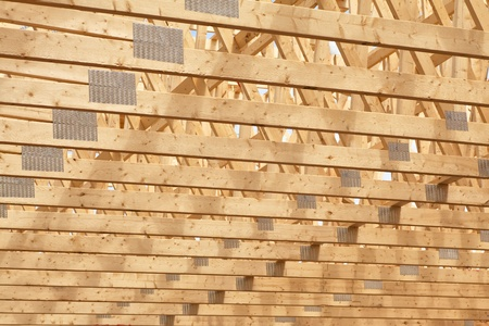 rafters: Roof rafters in the new construction of a wooden building or house.
