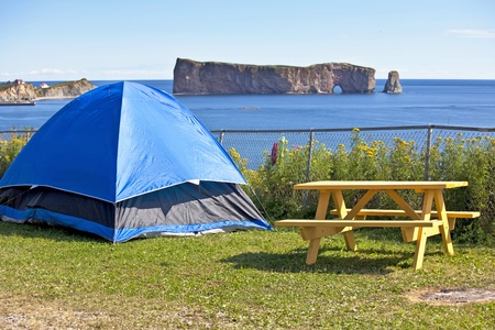Camping with a view of Perce Rock, Gaspe, Quebec, Canada. Stock Photo - 13067601
