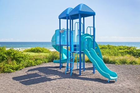 playground equipment: Jungle Gym Playground by the ocean.