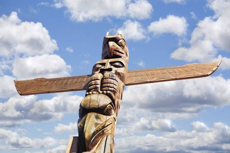 the totem pole: Totem Poles in Stanley Park in Vancouver, Canada